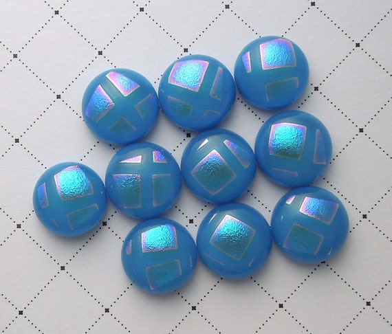 Dichroic Glass Mini Cabs, Dichroic Beads, Dichroic Cabochons, Glass Beads, Buttons 4662