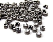 Antiqued Silver Crimp Bead Covers, 4mm, 40 pieces (384FD)
