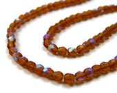Brown glass beads, 4mm faceted round Czech glass, Aurora Borealis, Full strand (379F)