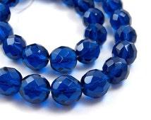 Czech Glass Beads, Dark Aqua Blue, 12mm faceted round, Full strand (375G)