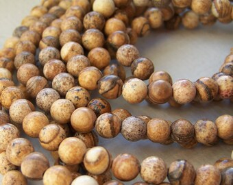 Picture Jasper beads, 6mm round natural gemstone bead, full & half strands  (109S)