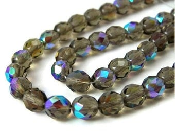 Czech Glass beads, 8mm faceted round, Smoke Grey Aurora Borealis, Full & Half Strands Available  (164F)