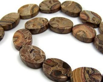 Leopardskin Jasper beads, 20mm oval natural brown gemstone, full & half strands (152S)