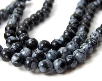 SNOWFLAKE OBSIDIAN, 6mm round gemstone beads, full or half strands   (110S)