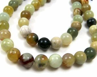 8mm round gemstone beads, Antiqued New Jade, Flower Jade, Full & Half Strand  (321S)