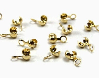 Gold bead tip, side clamp full loop style, gold plated, 3mm,  50 pieces (315FD)