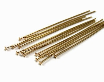 gold plated headpins 2 inch 21 gauge jewelry finding head pins 80 pieces (288FD)