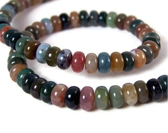 FANCY JASPER 4mm x 6mm rondelle, natural colorful gemstone beads, full & half strands available (151S)