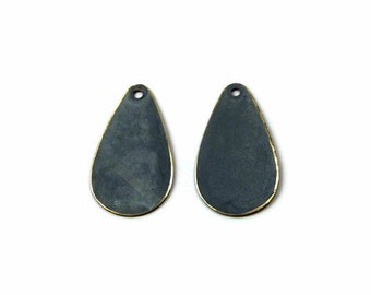 teardrop charm, double-sided grey patina brass 24x12mm - 2 charms (348GD)