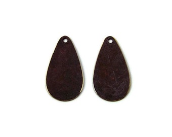 brass teardrop charm double-sided brown patina 24x12mm, 2 charms (348BD)