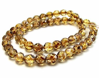 Czech Glass Beads, 8mm Golden Tortoise Shell, faceted round beads, full & half strands available  (273F)