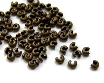 3mm crimp bead covers, antique brass, multiple packet sizes available (324FD)