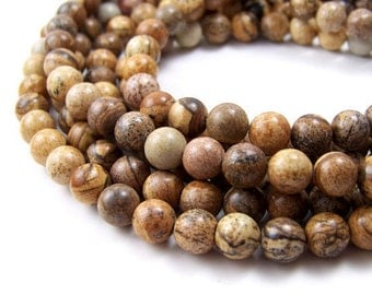 Picture Jasper beads, 8mm round gemstone bead, brown, Full or half strands  (391S)