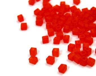 Electric Orange 4mm glass cubes, 200 beads (456SB)