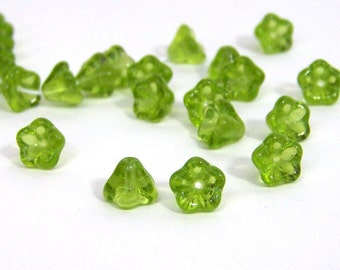 """Glass flower beads Czech Olivine Green 5 petal flowers floral bead, 8"""" (471G)"""