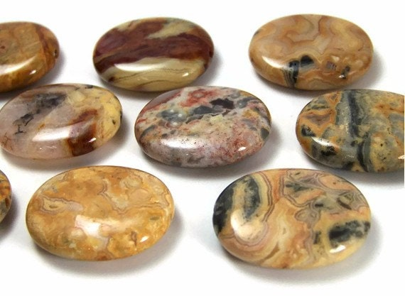 Crazy Lace Agate beads, large natural gemstone 30mm oval focal, 6 beads (105S)