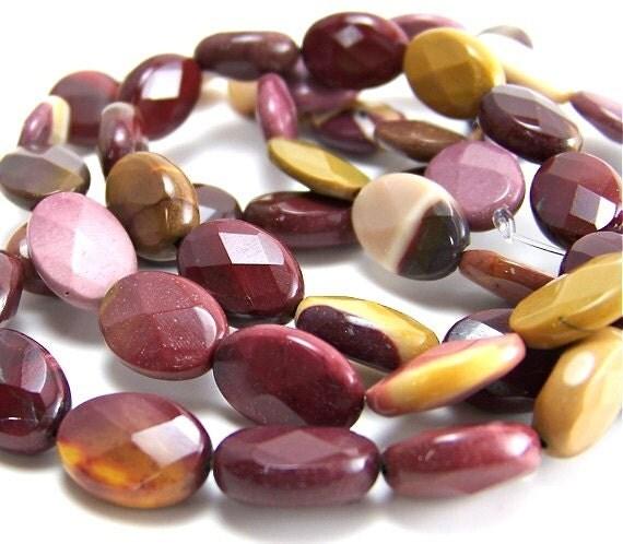 faceted gemstone, Moukaite jasper beads 14mm x 10mm, full strand (270S)