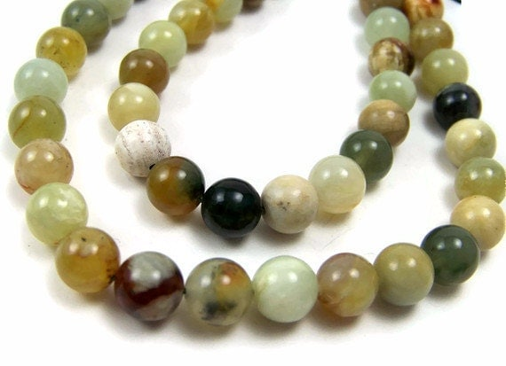 8mm round gemstone beads, Antiqued New Jade, Flower Jade, Full & Half Strand  (321S)
