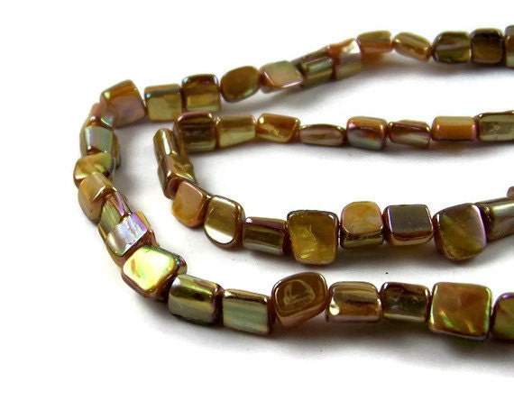Mother of Pearl Beads, Gold Aurora Borealis rectangle cut bead, full bead strand, 406H