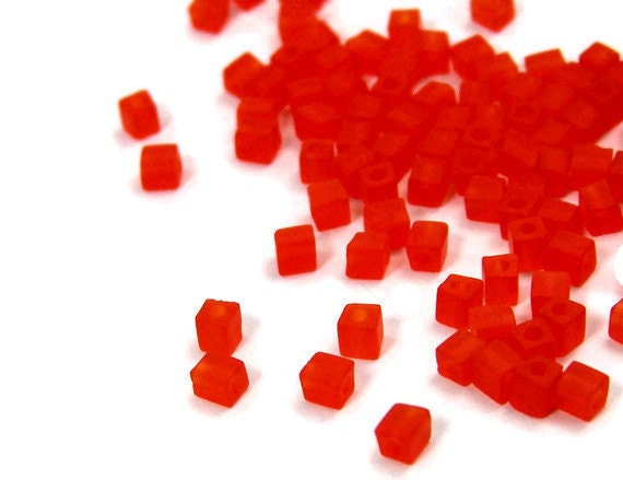 Electric Orange 4mm glass cubes, 200 beads (456SB)