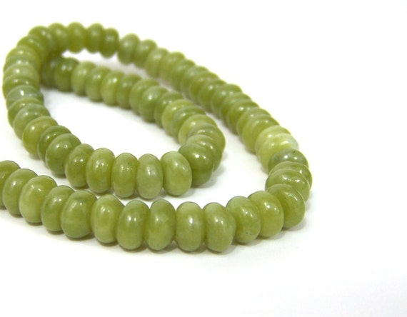 Green Gemstone beads, Serpentine rondelle natural 8mm, full bead strand (404SL)