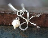 Sterling Silver Forget Me Knot Bow and Pearl Charm Necklace