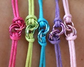 Send Some Love With A Hug - 1 Colored Waxed Cotton and Jump Rings Love Knot Bracelets