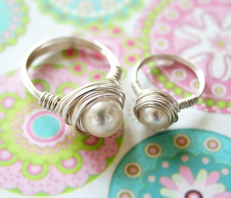 Mother and Daughter Sterling Silver ring Set
