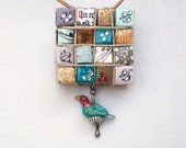 Japan Relief 100% Proceeds - BIRD on a WIRE Paper Rhinestone Eco Chic Necklace Jewelry