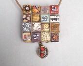 VICTORIAN CORAL Charm Paper Rhinestone Eco Chic Necklace Jewelry