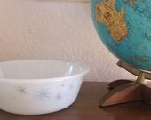 SALE 20% off - FREE SHIPPING Vintage white pyrex serving bowl/dish with 50s mod blue, silver and gold starburts