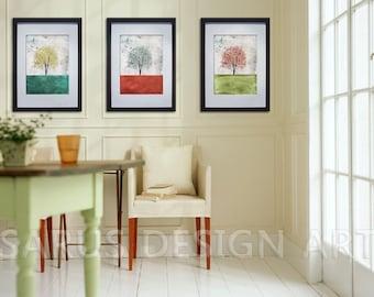 Color Tree Series--Set of Three--8x10 christmas gifts-tree art print giclee print,art collectibles,wall art,wall decor,wall decor