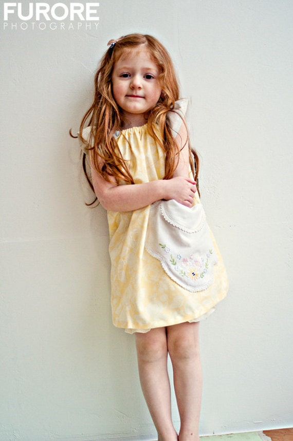 yellow cabbage roses dress 3T Spring 2012