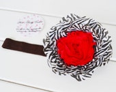 Boutique Flower Headband Brown Animal Print Red Baby Adult Sizes Photo Prop Birth Announcement Birthday by Ana's Baby Couture
