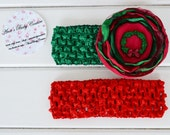 Baby Boutique Christmas Fashion Infant Toddler Red Green Fabric Flower Holiday Photos Set by Ana's Baby Couture on Etsy