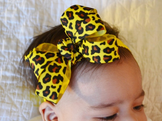 SALE Baby Headband Yellow Animal Print Crochet Headband Infant  By Ana's Baby Couture on Etsy