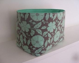 Reversible fabric organizer bin bucket - Buttercup in Gray Jade