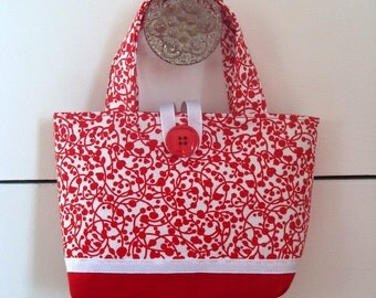 Sale - Girls Red and White Tote Bag Toddler Purse Little Girl Tote Toddler Tote Bag Girls Bag Gifts For Girls Gifts For Child Girls Purse