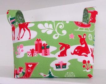 Christmas Fabric Organizer Bin Bucket