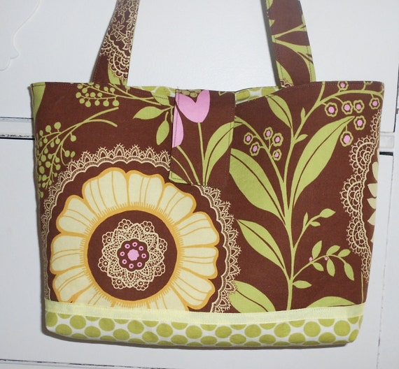 Floral Tote Bag Medium Shoulder Bag Sunflower Purse Fabric Bag Medium Carryall Floral Shoulder Bag Gifts for Her Floral Book Bag