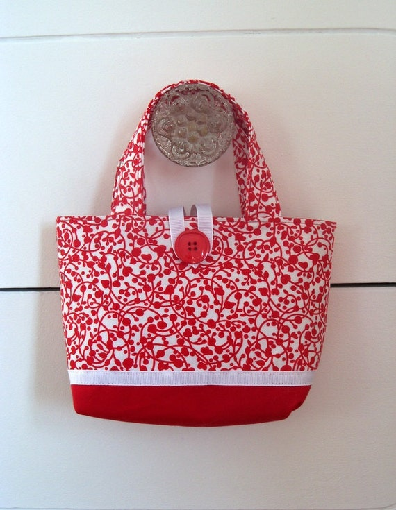 Girls Red and White Tote Bag Toddler Purse Little Girl Tote Toddler Tote Bag Girls Bag Gifts For Girls Gifts For Child Girls Purse