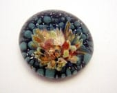 Large Glass Cabochon, Lampwork Frit Implosion, Teal Orange Wheat