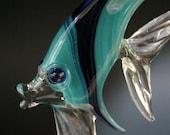 Angel Fish Suncatcher, Glass Lampwork, Hanging Art Sculpture