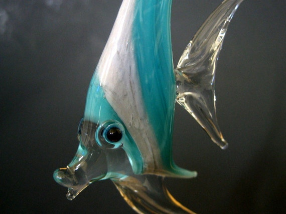 Glass Angel Fish, Ornament, Suncatcher, Teal, Grey Stripes, Hanging Tropical Sea Life Art Sculpture