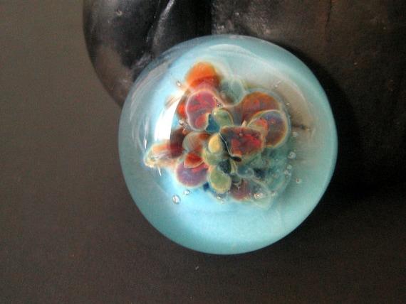 Sky Blue Bead, Glass Cabochon, Focal, Frit Implosion, Handmade, Lampwork Boro