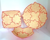 Coral and beige scallop flower fabric bowl set of 3