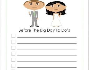 Bridal To Do List, Wedding Notepad, Wedding Planner, Wedding Shower Gift, Custom Notepad, Wedding Stationary, Custom Cartoon Portrait