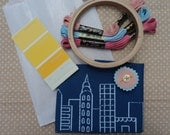 Embroidery Kit - City design on dark blue
