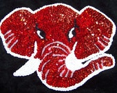 Large University Alabama Elephant Beaded Applique Patch Roll Tide