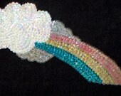 3 Pastel Rainbow Applique Sequin Patches Free Shipping